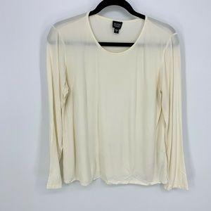 Eileen Fisher Long Sleeve 100% Silk Sheer Top